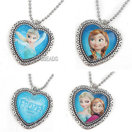 Wholesale Kids Frozen Ball Chian Necklaces Alloy Pendants with Cartoon Frozen Pricess for Kids Chilldren Jewelry Decoration fit Frozen Dress Accessory