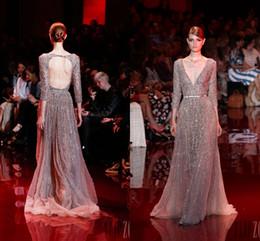 Wholesale 2014 New Elie Saab Evening Dresses A Line V Neck Hollow Tulle Sash Crystal Beading Prom Dresses Party Dresses Vestido De Festa Curto KFX079