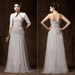 Wholesale Cheap Lady T Shirts - 2014 Cheap! with Jacket Gray Chiffon Mother of the Bride Gown Half Sleeve Beads Sequins Floor Length Lady Formal Dresses Custom M23
