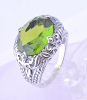 ancient roman rings - 925 sterling silver olive green gem The Roman style restoring ancient ways pattern luxurious ancient silver ring