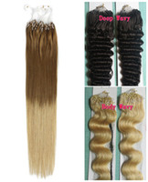 Wholesale Loop Micro Ring Hair Extensions g s Straight Body Wavy B Black Brown Blonde Mix Ombre Color Indian Remy Human Hair