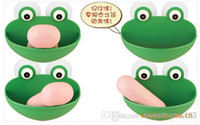 Wholesale EMS Free Creative Frog Soap Holder ABS Soap Dish Vivid Soap Stand Soap Box Easily Suck On the Wall Bathroom Washroom Necessity Sweethome123