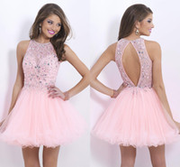 short tulle prom dress - Open Back High Neck Light Pink Homecoming Dresses Short Tulle A Line Sequins Prom Dresses Modest New Arrival Crystal Cute Club Gowns Ady01