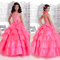 Cheap Lovely Halter V-neck Girls Pageant Dresses Beaded Layers Organza Bow Elegant Zipper Ball Gowns Fashion Prom Party Gown For little Girls