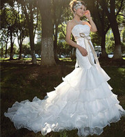 Wholesale the llatet super luxurious elegant sweet neckline mermaid princess bride very nice quality wedding dress evening dress
