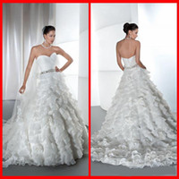 Cheap 2014 New Arrival Sweetheart Demetrios Wedding Dresses A Line White Organza With Ruffle Bridal Gowns