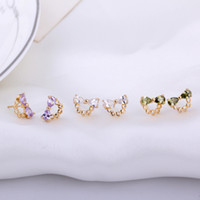 Wholesale Hot Sale New Classic Simple Bow Crystal Rhinestone Gold Plated Stud Earrings Fashion Jewelry Ladies Accessories EAR ERZ021955