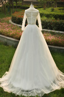 Wholesale Sfani Real Photo Wedding Dresses Bridal Gown Designer New V Neckline Beaded Zipper Long Sleeve Chapel Train Back White Ivory