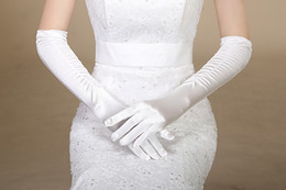 Wholesale 2015 Popular Bridal Gloves Finger Elbow Wedding Gloves Ruffles Smooth Bridal Gloves Cheap In Stock White Gloves Simple