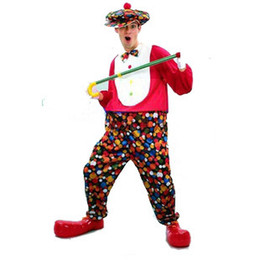Wholesale Adult Clown Costume Suit Halloween Carnival Christmas Cosplay Costumes For Men Fancy Dress with Hat Circus Party Funny Show Joker masquerade