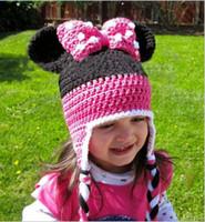 Wholesale Minnie Mouse Caps Hats Kids Cap Girls Hats Fashion Wool Cap Baby Crochet Hats Children Caps Hand Knitted Caps Baby Hat Girls Caps JL