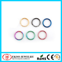 Wholesale Titanium Anodized Hinged Segment Ring mm Mixed Colors of Body Jewelry