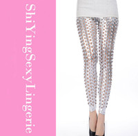 Cheap Punk Fish Scale Pierced Holes Fashion Leggings Free Shipping women design leggings sexy
