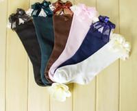 Wholesale 2014 Autumn Korean Style Girls Children Long Socks Baby Girl Cotton Cute Butterfly Lace Sock Kids Stockings Foot Wear J1733