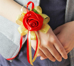 Wholesale Korean Wrist Flower Dia cm quot Red Color Artificial Simulation Satin Rose Wedding Bride Bridesmaids Flowers