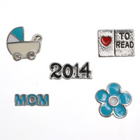 Cheap Wholesale 15x10PCs Floating Charms For Glass Floating Locket MOM 2014 11x4-14x6 Mixed Free Shipping