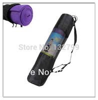 Cheap Wholesale-Yoga Mat Bag Exercise Fitness Carrier Nylon Mesh Washable Adjustable Strap Gym Bags Black