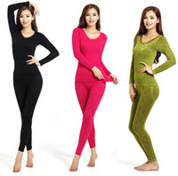 thermo - New Tight Slimming Thermo Sets Women s Body Shaper Fashion O Neck Jacquard Edge Underwear Long Johns Thermal Underwear Warm Comfortable