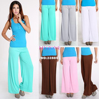 Cheap Drop Shipping Sexy Trendy Flare Solid Color Big Loose Yoga Dance Palazzo Pants Women Casual Wide Leg elastic waist Trousers b6