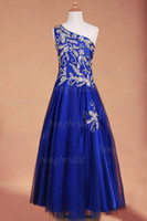 Sparkling Royal Blue One- Shoulder Beaded bodice Girls Pagean...