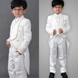 Wholesale 2014 New Boys Formal Occasion Suits Wedding Party Tuxedos Kids Performance Suits White Custom Made Jacket Pants Vest Tie A230