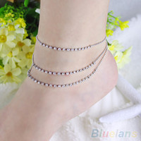 Cheap Crystal 3 Rows Rhinestone Anklet Chain Ankle Bracelets Foot Jewelry