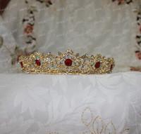 diamond tiara - Newest Design Luxury Bridal Crown Gold Metal Green Red Diamond Crystal Bridal Tiaras Big IC2633 In Stock Wedding Accessories