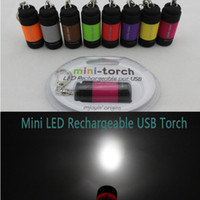 Wholesale Mini USB LED Torch Rechargeable Battery recycle environmental Flashlight waterproof Candy Color Torches C1