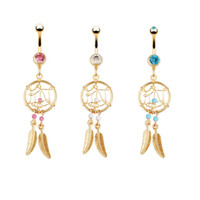 Wholesale 5pcs navel button ring Dream Catcher k gold plated G belly piercing navel button ring