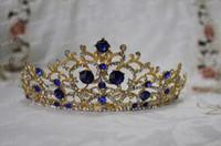 gold tiara - Newest Design Luxury Royal Bridal Crown Gold Metal Blue Diamond Crystal Bridal Tiaras Big IC2632 In Stock Wedding Accessories