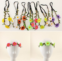 Wholesale Bohemian Headband for Women Flowers Braided Leather Elastic Headwrap sunflower hair band Assorted Colors Hair Ornaments