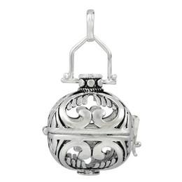 Bola jaula en Línea-5 PC / porción de la bola de la bola de la bola de la armonía de la bola del armario de la armonía del estilo del plumaje del colgante del locket de la plata para la bola de la bola de la armonía de 20m m pendent
