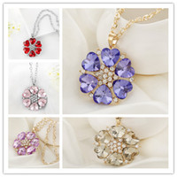 Cheap Hot European and American fashion jewelry Crystal Drops Alloy flower shape diamond long sweater chain Necklace Pendant 5 color options