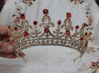 Cheap Newest Design Luxury Royal Bridal Tiaras Gold Alloy Red Diamond Crystal Bridal Tiaras Big IC2632 In Stock Wedding Accessories Hair Accessory