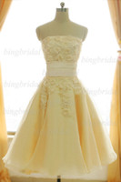 Hot Ravishing Champagne Strapless Appliques Beaded bodice A-...