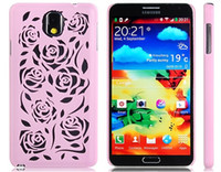 Cheap 5pcs lot Cut-out Rose Design Plastic Case for Samsung Galaxy Note 3 N9000 N9005 (Pink)Free Shipping
