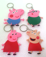 Cheap 2014 New Arrive 4 style 10 pcs Peppa Pig Children's Christmas gift bag PVC pendant
