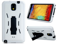 Cheap 5pcs lot Robot Design Silicone & Plastic Case with Stand for Samsung Galaxy Note 3 N9000 White Free Shipping