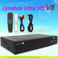 Cheap 5pcs lot jynxbox ultra hd v6 digital satellite receiver with JB200 module build in wifi,YouTube,USB PVR,HDMI for North America Free Shipping