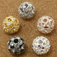 rhinestone spacer beads - 50pcs Rhinestone Ball Beads mm Round Shape Gold Silver Imitation Rhodium Rose Gold Gunmetal Big Hole Spacer Shamballa DIY Beads