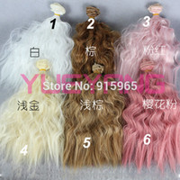 Wholesale pieces bjd hair cm CM curl and straight brown falxen white green blue purple pink wig hair for BJD DIY