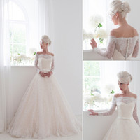 long sleeve lace wedding dresses - 2014 Wedding Dresses Lace A Line Floor Length Waist Ribbon Portait Long Sleeve Lace Wedding Dress