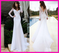 Wholesale 2014 Fashion White Sheath Wedding Dresses Long Sleeve Lace Chiffon Beach Hollow V Neck Long Bridal Gowns Floor Length Bow Knot Ribbon Hot WW