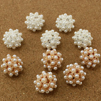 round beds - 50pcs mm Round Hollow Ball Alloy Beads White Pearl Gold Silver Plated Spacer DIY Beds for Fashion Jewelry Craft Making