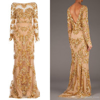 Cheap 2014 Hot Sale Real Picture Zuhair Murad Long Sleeve Backless Long Prom Gowns Trailing Gold Appliques Illusion Dress Formal Evening Dresses