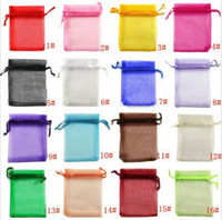 organza bags wholesale - set x9cm Black Drawable Organza Jewelry Packaging Wedding Gift Bags Pouches