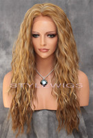 blonde lace front wigs - Ombre Dark Medium Blonde Mix Long HEAT OK Loose Wavy Lace Front Wig