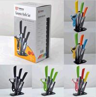 Wholesale Beauty Paring Knives Ceramic Kitchen Knife Set quot quot quot Peeler Stand Set DH04