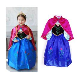 Wholesale Baby Girls Frozen Elsa Anna Princesse Robes Shawl Set Enfants à Longue Manche Cosplay Party Dance Robe Rose Cloak Kid Costume Vêtements