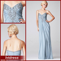 Wholesale Casual Cheap Evening Gowns Sheath Column Spaghetti Straps Floor Length Chiffon Beads Crystal Party Attire